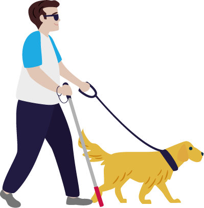 Blind person with guide dog