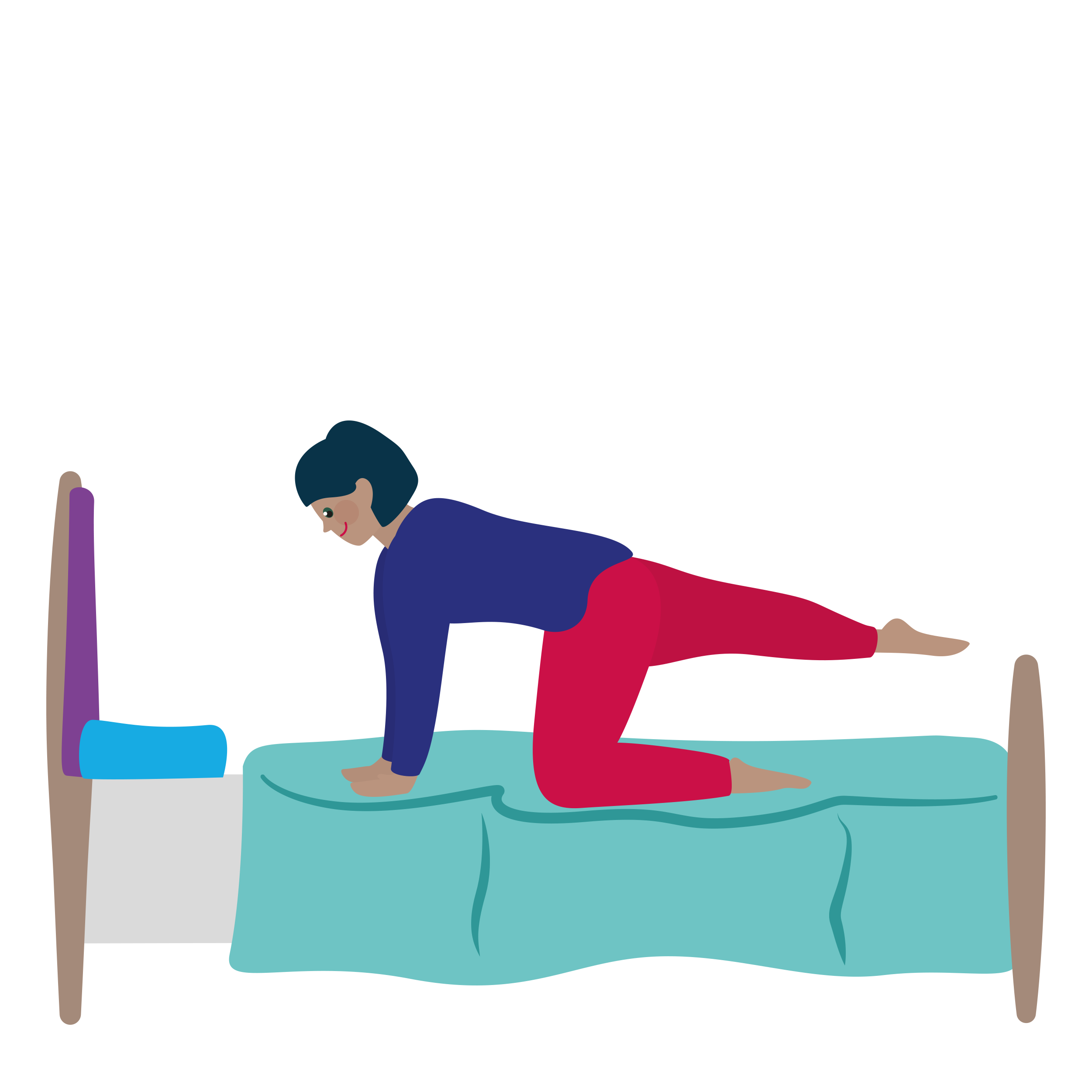 Person doing yoga on a bed